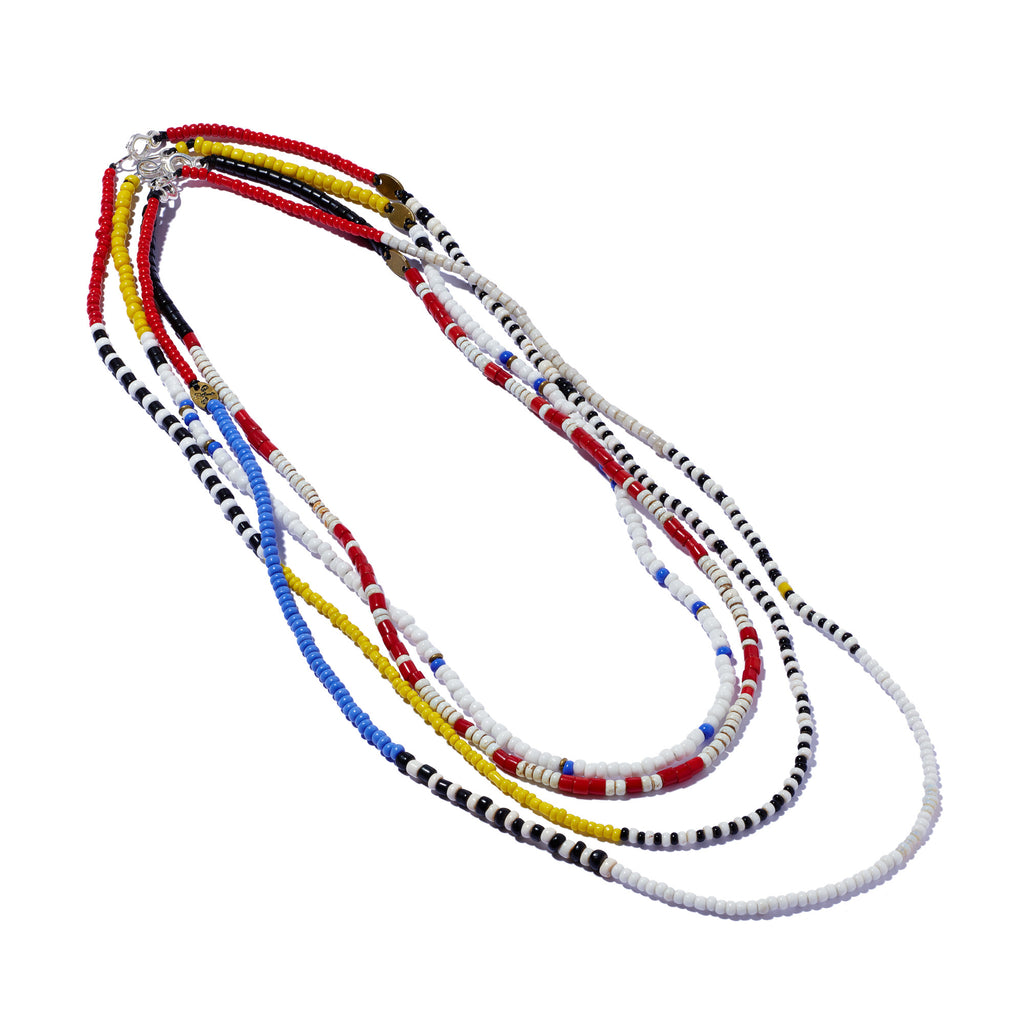 African Seed Bead Necklace Yellow, White, Blue & Black