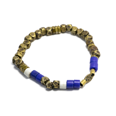 Faceted Brass Bead Stretch Bracelet