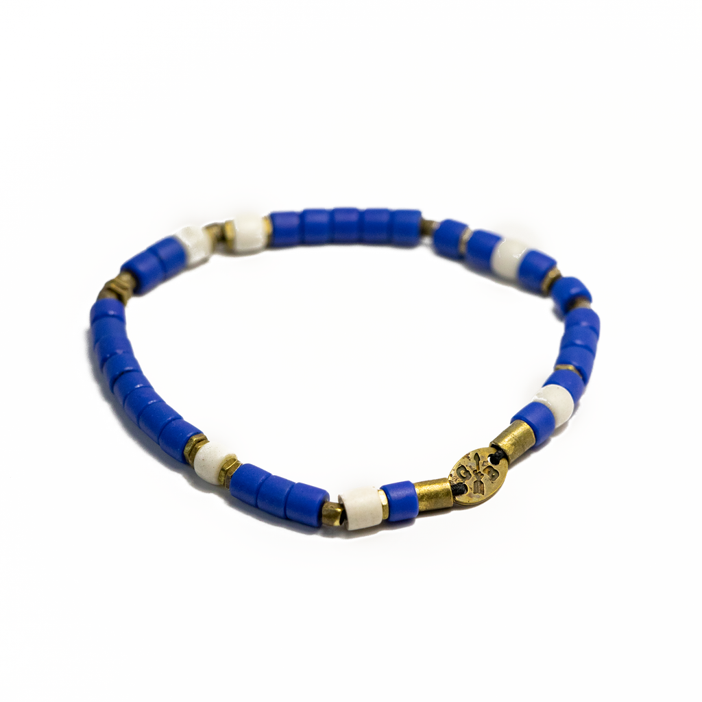 Blue and Brass African Bead Stretch Bracelet