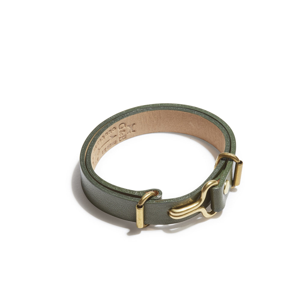 Olive Green Leather Narrow Visor Cuff