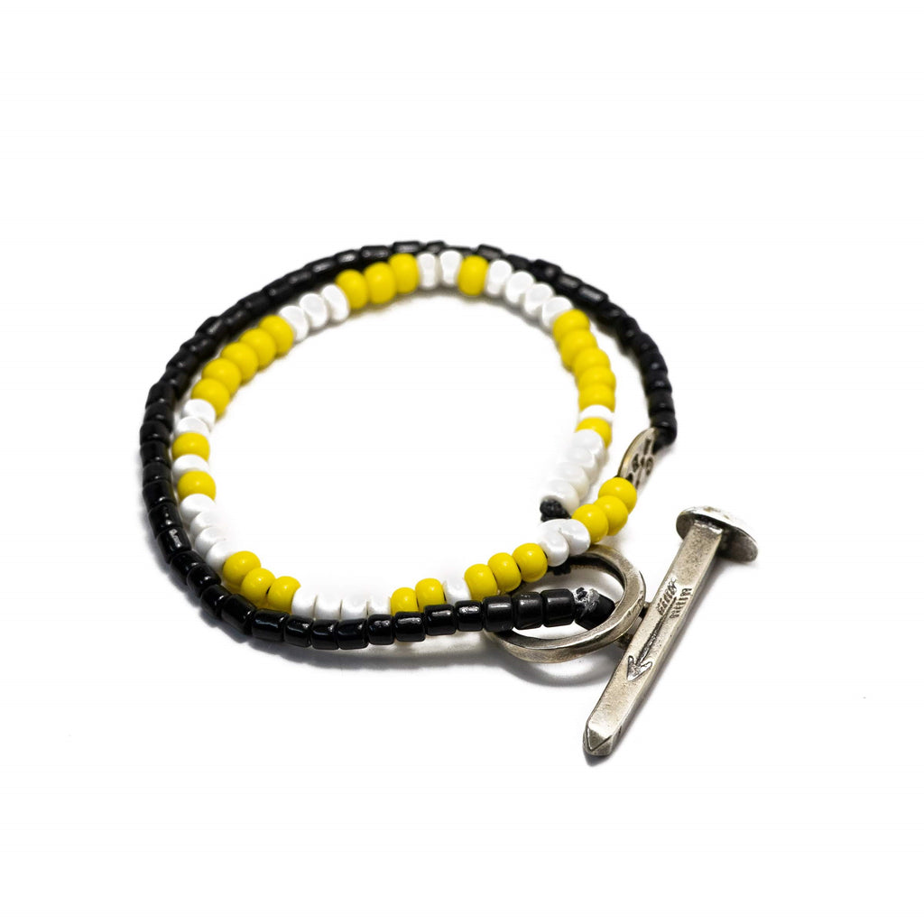 Beaded Railroad Spike Wrap Bracelet Black Yellow White and Silver Ox