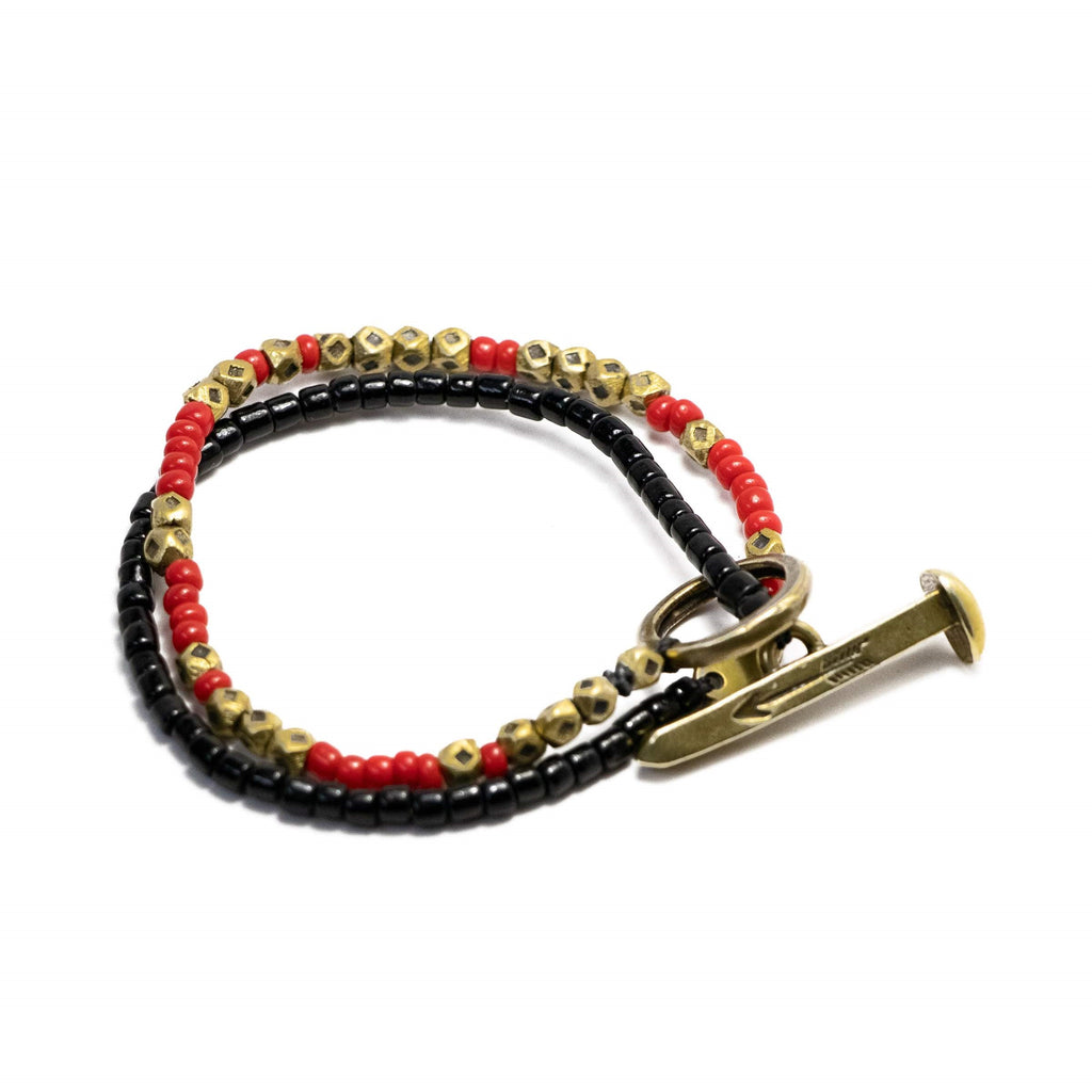 Beaded Railroad Spike Wrap Bracelet Red Black and Brass