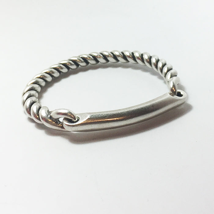 Twisted Hinge Cuff W/ID Bar