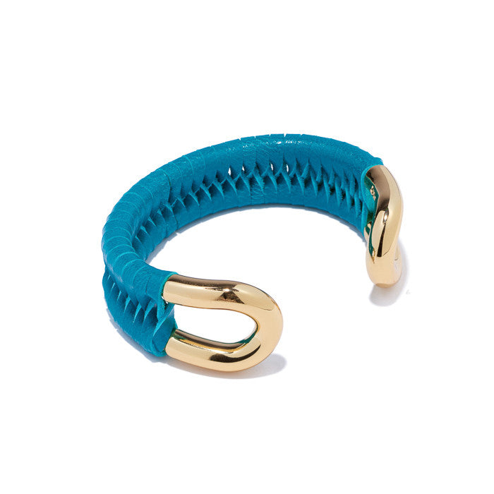Skinny Gold Cortina Cuff with Turquoise Leather