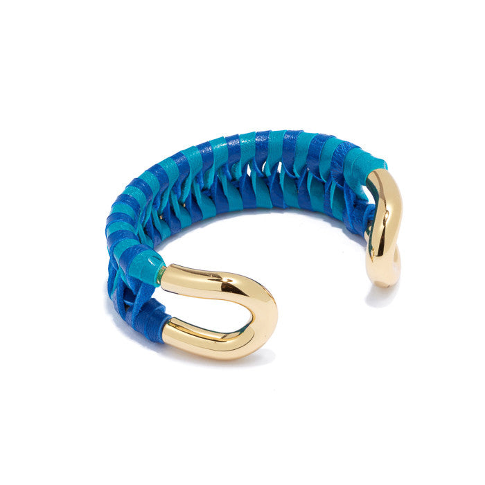 Skinny Gold Cortina Cuff with Turquoise and Navy leather