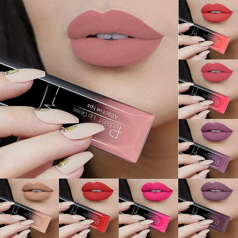 PUDAIER Lip Gloss Sexy Lipstick Metallic Lipgloss Long Lasting Tattoo Pigment Matte Liquid Lipstick Makeup Lips Lip Gloss