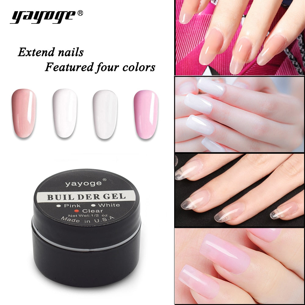 YAYOGE Builder Gel for Nail extensions LED uv nail gel polish Hard gel varnish 15g Pink Clear White false tips  Long Black case