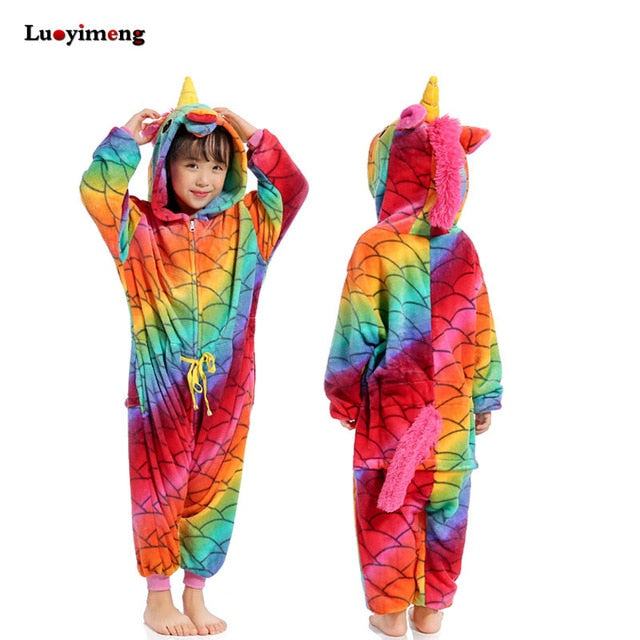 Boys Girls Flannel Star Unicorn Pajamas Kigurumi Overalls Jumpsuit Kids Children Giraffe Panda Cosplay Costume Blanket Sleepers