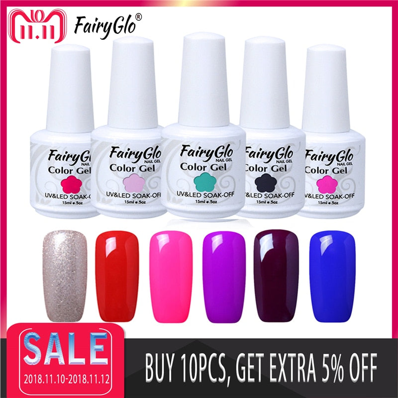 FairyGlo 15ML UV Gel Nail Polish Soak Off Gel Polish Semi Permanent Paint Gellak Hybrid Varnish Lucky Lacquer Stamping Enamel