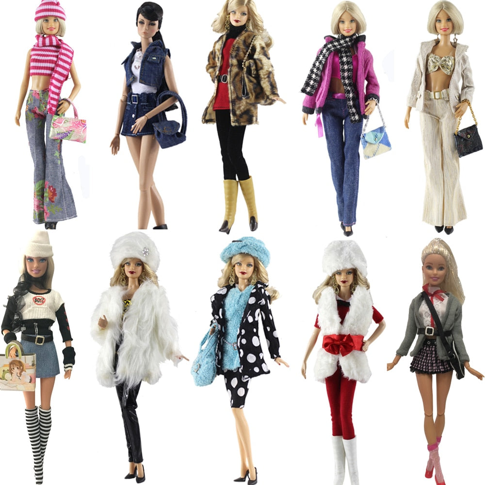 NK One Set Doll Dress Fashion Uniforms Cool Winter Clothing Super Model Coat For Barbie Doll Accessories Girl Gift Toys  A1JJ