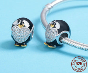 925 Sterling Silver Black Penguin Cubic Zirconia Heart