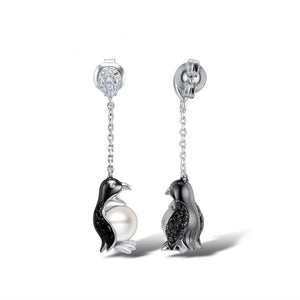 Penguin Pearl Earrings Sterling Silver Cubic Zirconia