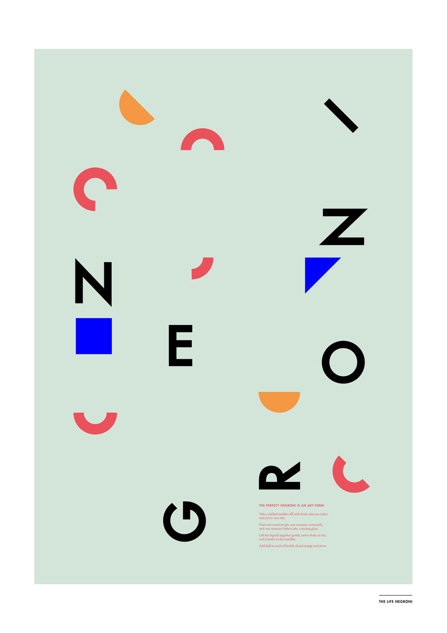 Negroni Poster: Letters - The Hackney Emporium