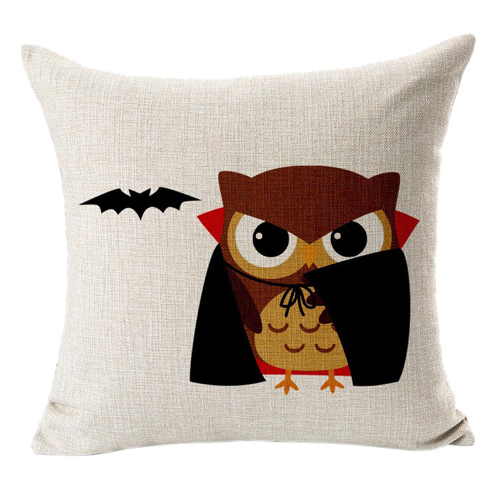 Halloween Cotton Linen Blended Vampire Bat Pillow Case Cushion Cover