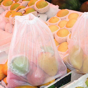 5Pcs Reusable Mesh Produce Bag Multi-Purpose Storage | Drawstring Closure Pouch