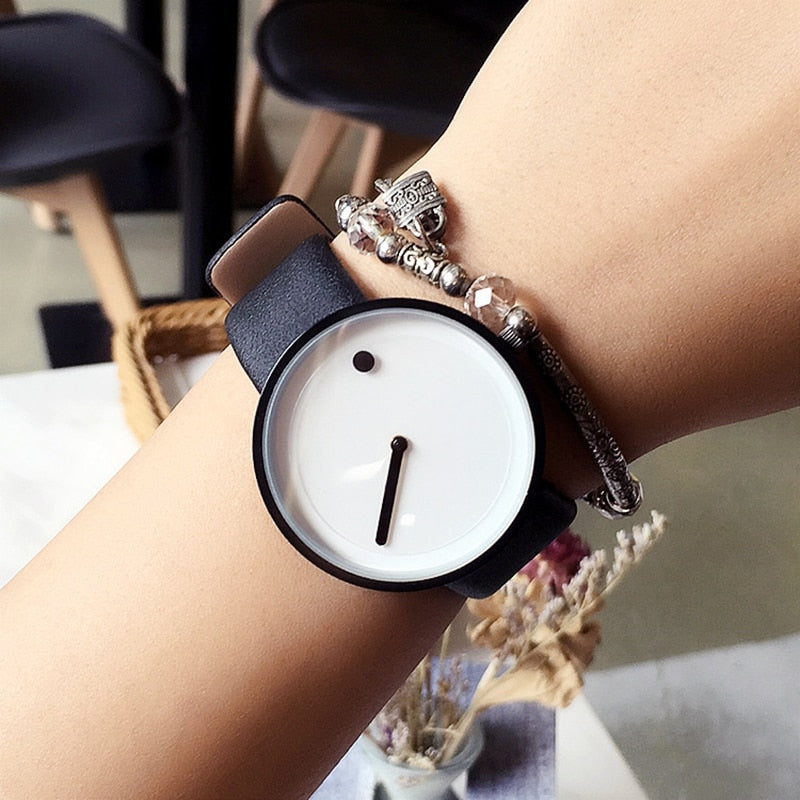 Minimalist Wristwatch | Dot and Line | Simple Stylish Quartz Watch
