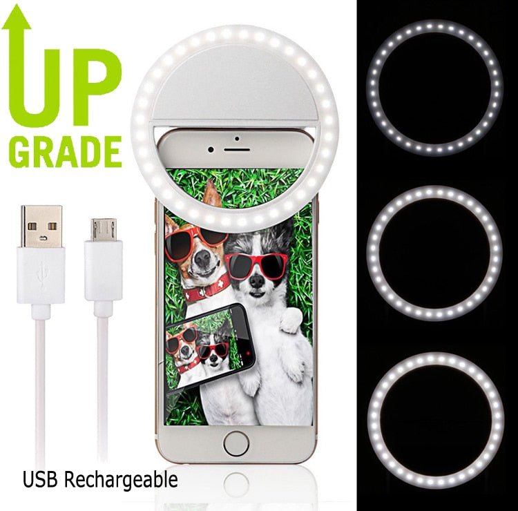 USB Rechargeable Selfie Ring Light | 36 LED | Camera Ring Flash | Portable Led | Phone Clip-on for Smart Phones