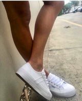 Cass White Leather Sneakers