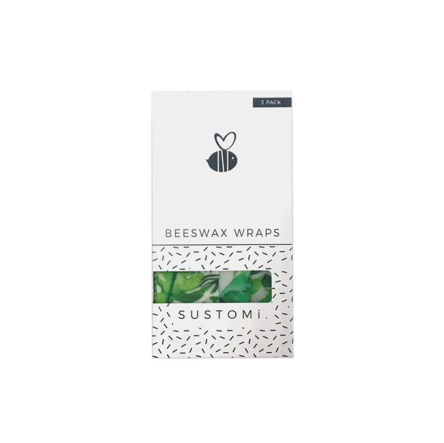 【Sustomi】Beeswax Wraps Tropical Fronds 3 Pack: 1S 1M 1L | 天然蜂蠟布 三包裝 (1小 + 1中 + 1大)