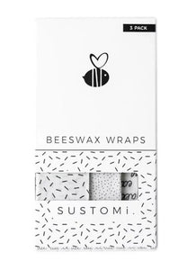【Sustomi】Beeswax Wraps Black & White 3 Pack: 1S 1M 1L | 天然蜂蠟布 三包裝 (1小 + 1中 + 1大)