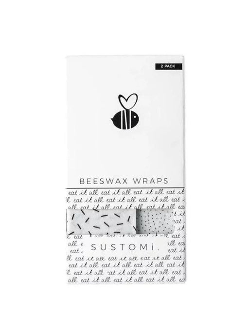【Sustomi】Beeswax Wraps Black & White 2 Packs: 1S 1M | 天然蜂蠟布 兩包裝 (1小 + 1中)