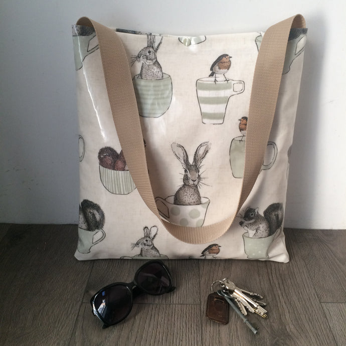 Oilcloth tote bag - large - single strap - different designs