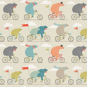 WHOLESALE Oilcloth lunch bag - bears on bikes