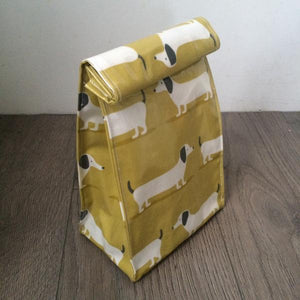 WHOLESALE Oilcloth lunch bag - Ochre Dachshund