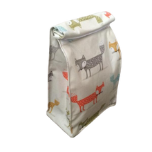 fox oilcloth fabric lunch bag