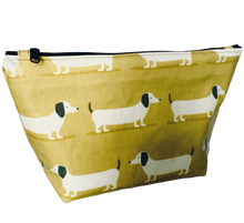 Dachshund oilcloth cosmetic/toiletry bag
