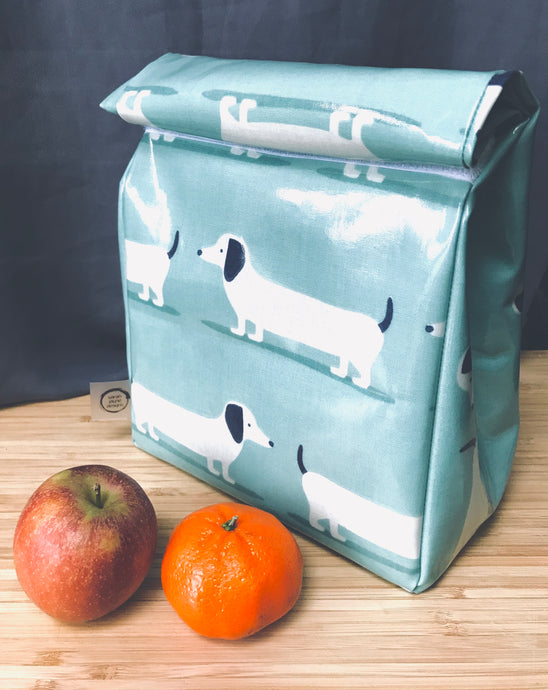 Oilcloth lunch bag - Duck egg- Dachshund