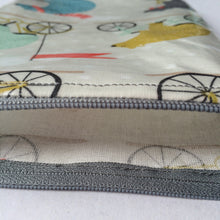 Oilcloth Book Bag - Bears on Bikes