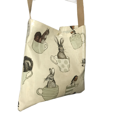 Oilcloth tote bag - single strap - teacups and creatures