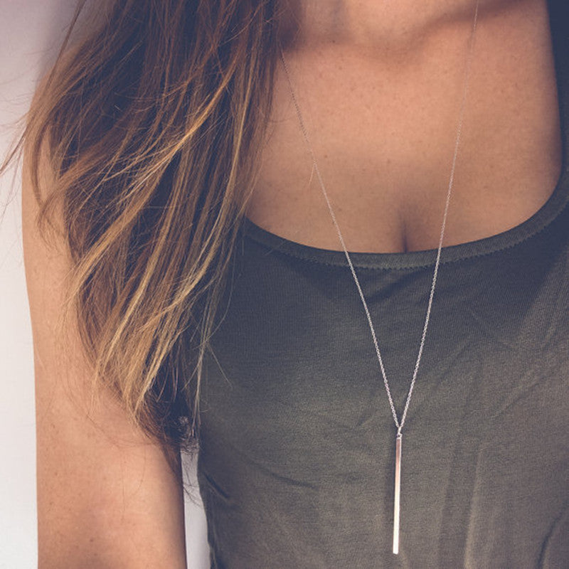 Simple Classic fashion Stick Pendant Necklace Hollow Girl Long Link Chain Square Copper Necklaces long Strip Jewelry for women - Top E-Shop