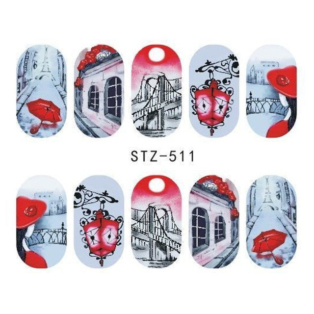 Flowers Cartoon Water Transfer Nail Art Decorations (1 pcs) - Top E-Shop