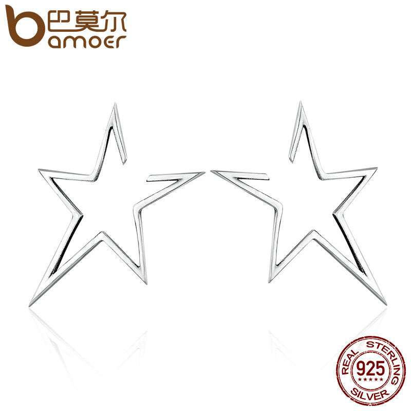 BAMOER  925 Sterling Silver Star Earrings - Top E-Shop