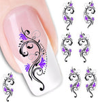 Purple Flower Water Transfer Nail Art Decorations (1 pc) - Top E-Shop