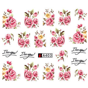 1 Sheet Fashion Rose Flower Water Transfer Nail Art Decorations - Top E-Shop