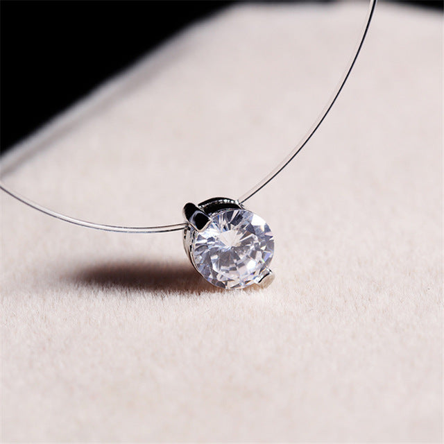 Choker Invisible Fish Line Crystal Necklace Pendants Neck Zircon Women Clavicle Chain Lady Feminino Collar - Top E-Shop