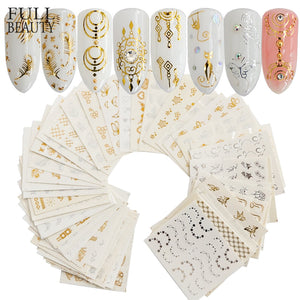 30 Sheets Gold Silver Water Transfer Nail Art Decorations - Top E-Shop