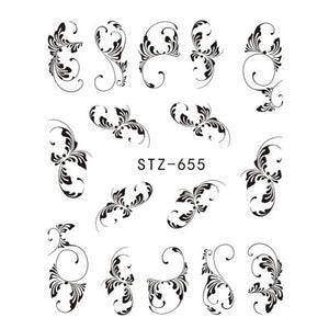 1 Sheet Black Necklace (and More) Water Transfer Nail Art Decorations - Top E-Shop