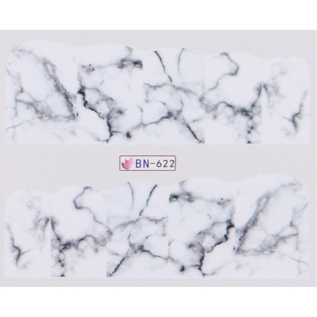 White Black Gradient Marble Water Transfer Nail Art Decorations (1pc) - Top E-Shop