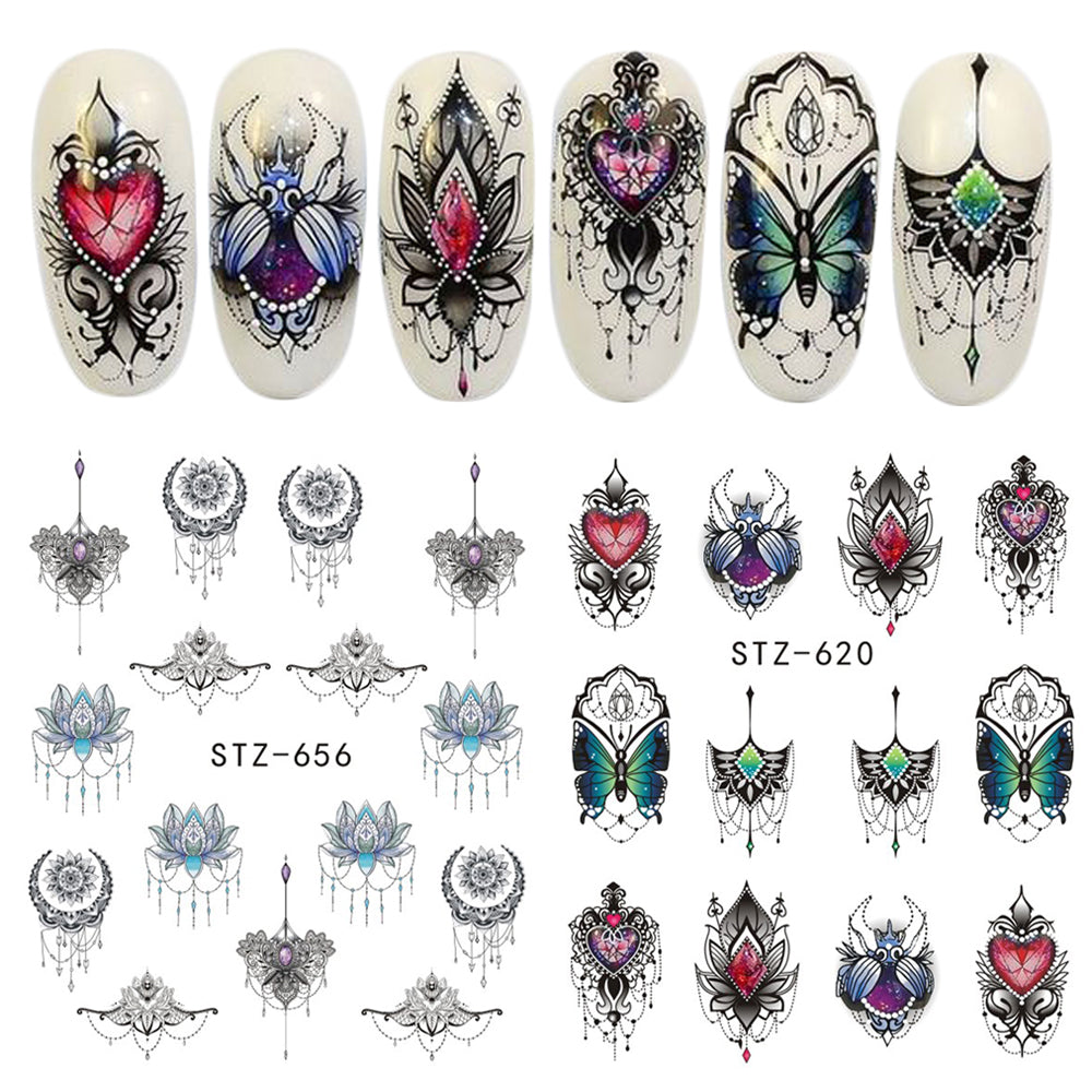 1 Sheet Charms (and More) Water Transfer Nail Art Decorations - Top E-Shop