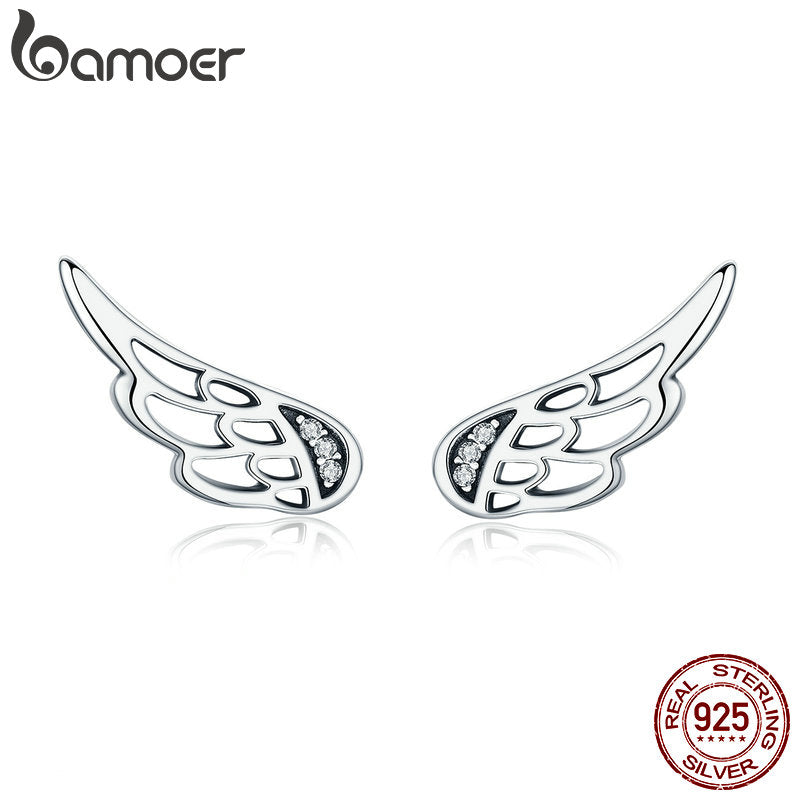 BAMOER 925 Sterling Silver Fairy Wings Earrings - Top E-Shop