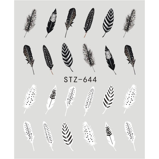 1 Sheet Black Flower (and more) Water Transfer Nail Art Decorations - Top E-Shop