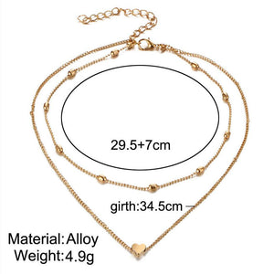 Golden/Silvery Little Heart Double Line Necklace (2 models available) - Top E-Shop