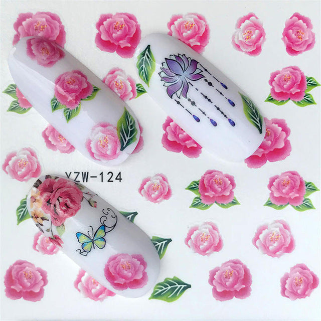 1 Sheet Beautiful Rose Flower Water Transfer Nail Art Decorations - Top E-Shop