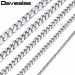 Davieslee Mens Necklace Chain Stainless Steel Gold Silver Black Wholesale Necklace for Men Jewelry 3/5/7/9/11mm 18-36inch LKNM07 - Top E-Shop
