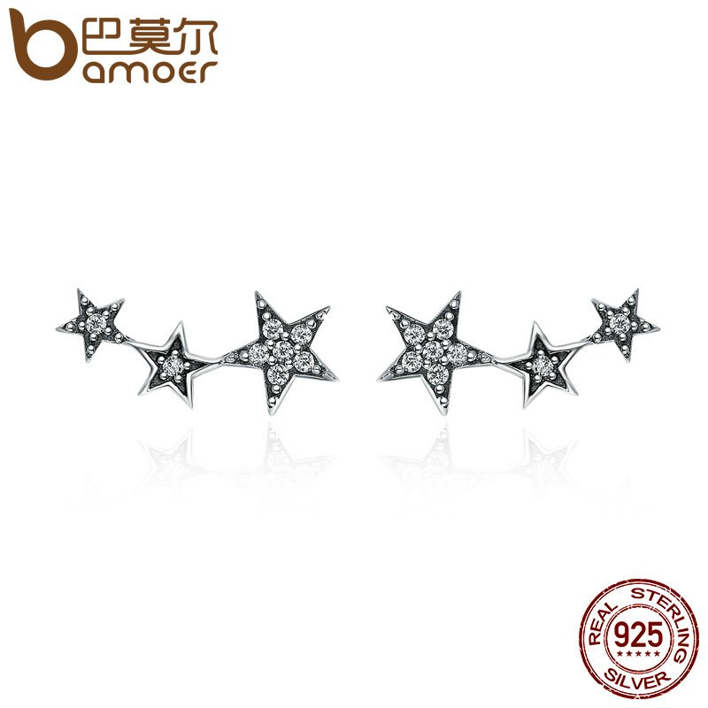 BAMOER 925 Sterling Silver Sparkling Star Earrings - Top E-Shop