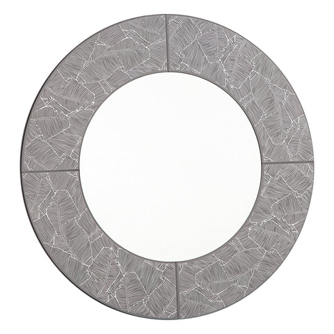 Atrani Round Grey with Silver Leaf Mirror